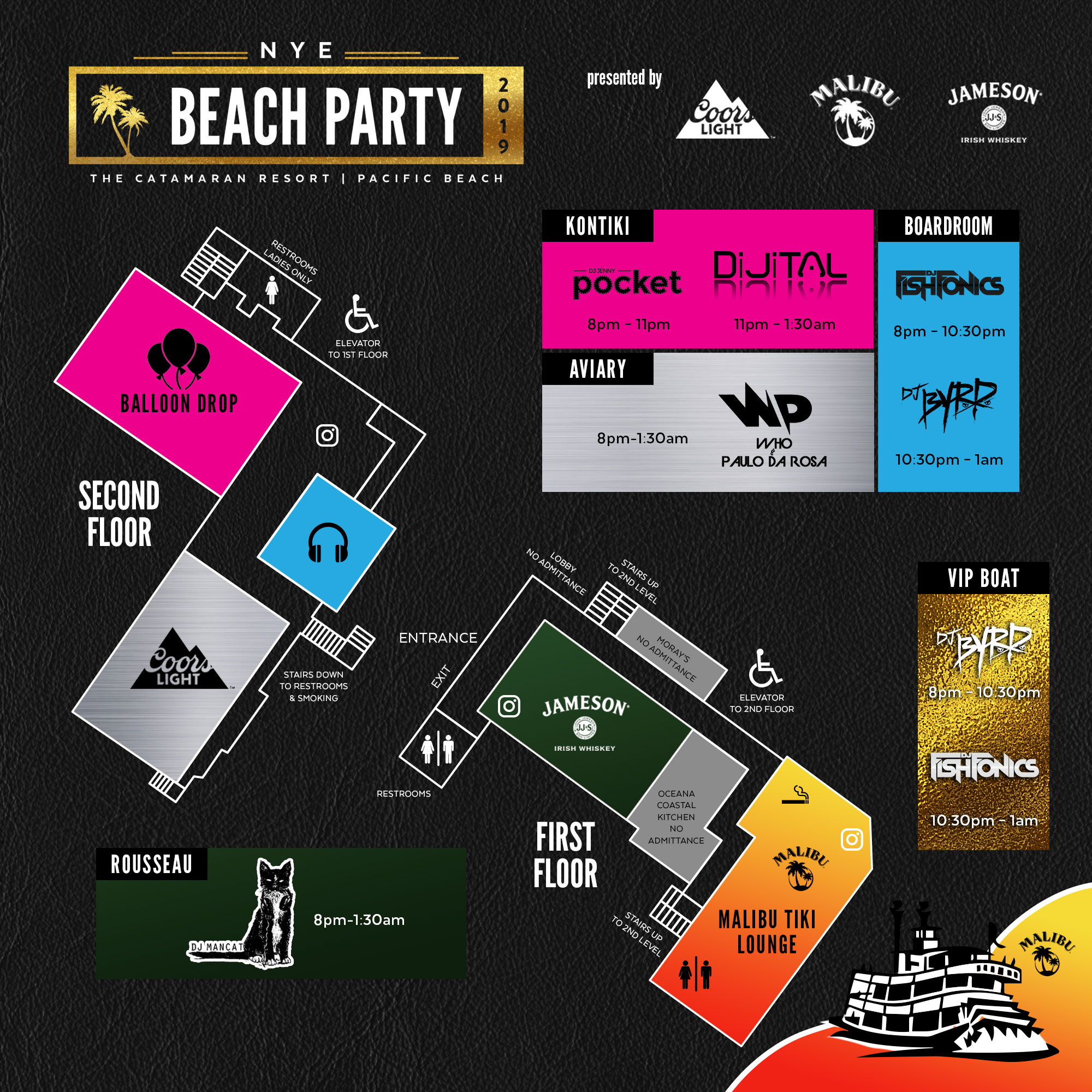 7094c1866ac8 Party Map - New Year's Eve Beach Party 2019 - San Diego New Year's ...